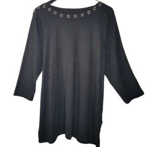 Cable & Gauge Black 3/4 Sleeve Rivet Boat Neck Top